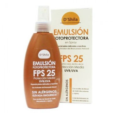 Emulsion protectora spray 200ml. FPS 25 D`SHILA
